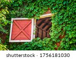 Open Attic Barn Door Of An Old...