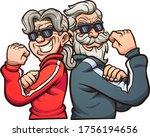 cool elderly power couple... | Shutterstock .eps vector #1756194656