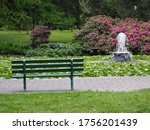 Bench Overlooking Pond With...