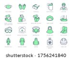Medical Ppe Line Icons. Vector...