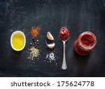 pizza topping sauce ingredients ... | Shutterstock . vector #175624778