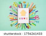 studying at home concept. top... | Shutterstock . vector #1756261433