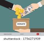 hands putting 5 turkish lira... | Shutterstock .eps vector #1756271939