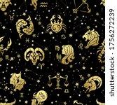 golden horoscope. zodiac signs. ...   Shutterstock .eps vector #1756272239