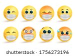 face mask vector set. faces or...   Shutterstock .eps vector #1756273196
