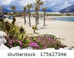 sandy beach in resort town of... | Shutterstock . vector #175627346
