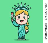 mascot liberty statue character ... | Shutterstock .eps vector #1756279700