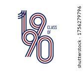 class of 1990 logo retro vector ...   Shutterstock .eps vector #1756279796