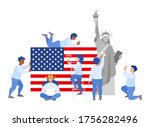 team of people with usa flag... | Shutterstock .eps vector #1756282496