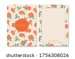set of cards with flowers.... | Shutterstock .eps vector #1756308026