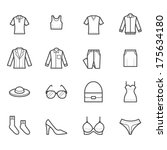 Stock vector women clothing icons 175634180