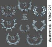 set of symmetrical floral... | Shutterstock .eps vector #175634204