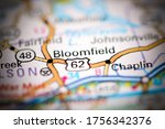 Bloomfield. Kentucky. USA on a geography map