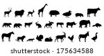 set of animals silhouette | Shutterstock . vector #175634588