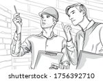 two serious man on construction ... | Shutterstock .eps vector #1756392710