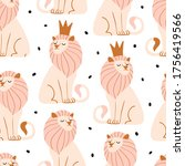 seamless pattern with cute lion.... | Shutterstock .eps vector #1756419566