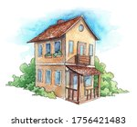 hand painted watercolor cottage ... | Shutterstock . vector #1756421483