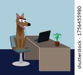 dog friendly office concept ... | Shutterstock .eps vector #1756455980