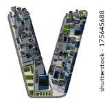 urban v letter from city font... | Shutterstock . vector #175645688