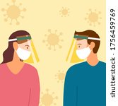 man and woman wearing face mask ... | Shutterstock .eps vector #1756459769