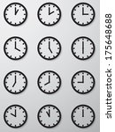 collection of 12 hours clock... | Shutterstock .eps vector #175648688