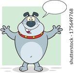 happy gray bulldog cartoon... | Shutterstock .eps vector #175649768