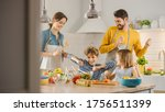 In Kitchen  Family Of Four...