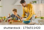 In Kitchen  Father And Cute...