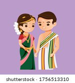 cute indian couple in south...   Shutterstock .eps vector #1756513310