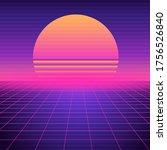 retro futuristic background... | Shutterstock .eps vector #1756526840