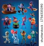 set of cartoon halloween... | Shutterstock .eps vector #1756535390