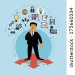 cartoon man with multiple arrow ... | Shutterstock .eps vector #175660334