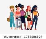 diverse group of women standing ... | Shutterstock .eps vector #1756686929