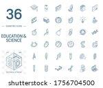 isometric line art icon set.... | Shutterstock .eps vector #1756704500