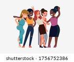 happy diverse young women... | Shutterstock .eps vector #1756752386