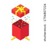 isometric gift box with flying... | Shutterstock .eps vector #1756807226
