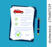 car insurance document in flat... | Shutterstock .eps vector #1756807229