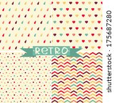vector set of cute retro... | Shutterstock .eps vector #175687280