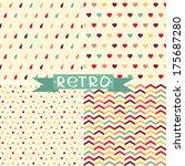 vector set of cute retro... | Shutterstock .eps vector #175687280