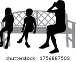 black silhouettes of a family... | Shutterstock .eps vector #1756887503