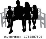 black silhouettes of a family... | Shutterstock .eps vector #1756887506