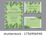 beautiful hand drawn palm leaf... | Shutterstock .eps vector #1756906940