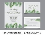 beautiful hand drawn palm leaf... | Shutterstock .eps vector #1756906943