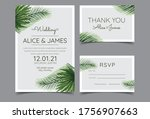 beautiful hand drawn palm leaf... | Shutterstock .eps vector #1756907663