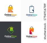 set of online shop logo designs ... | Shutterstock .eps vector #1756916789