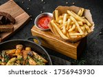 tasty french fries potatoes on...   Shutterstock . vector #1756943930