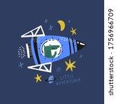 dinosaur flying in rocket flat... | Shutterstock .eps vector #1756966709