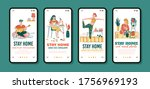stay home mobile app poster set ...