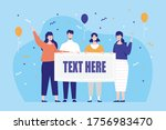 people holding a whiteboard to... | Shutterstock .eps vector #1756983470