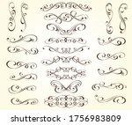 set of elegant calligraphic... | Shutterstock .eps vector #1756983809